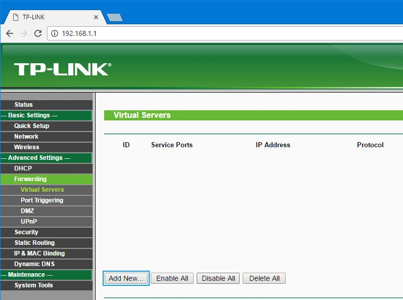 interface tp link roteador